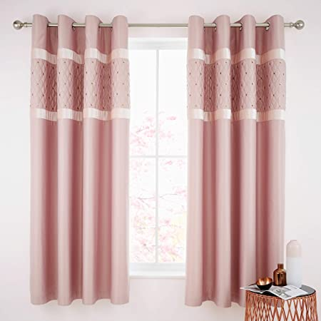 Catherine Lansfield Sequin Cluster Ösenvorhang Blush 66x72 Inch Eyelet Curtains
