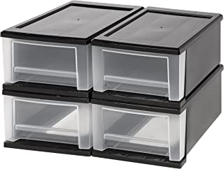 IRIS 7 Quart Stacking Drawer, 4 Pack, Black