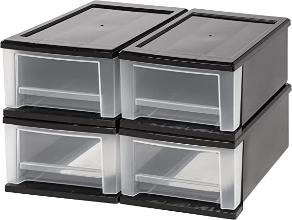 IRIS 7 Quart Stacking Drawer 4 Pack Black