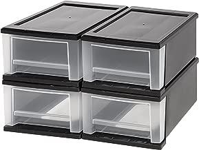 IRIS 7 Quart Stacking Drawer, 4 Pack, Black