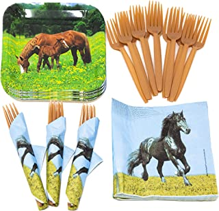 Horse Value Party Supplies Pack (58+ Pieces for 16 Guests), Value Party Kit, Horse Party Plates, Horse Birthday, Napkins, ...