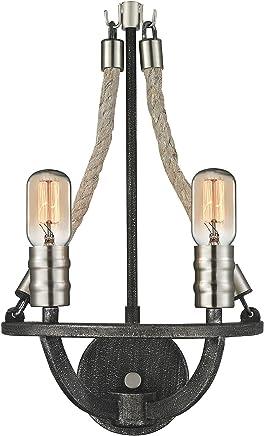 エルク照明自然ロープ2ライト壁取り付け用燭台Graphite /ポリッシュニッケル63051?–?2?–?新しい