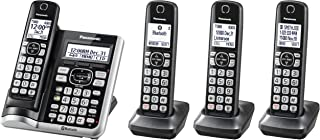PANASONIC Link2Cell Bluetooth Cordless Phone System with Voice Assistant, Call Blocking and Answering Machine. DECT 6.0 Expandable Cordless System - 4 Handsets - KX-TGF574S (Silver)