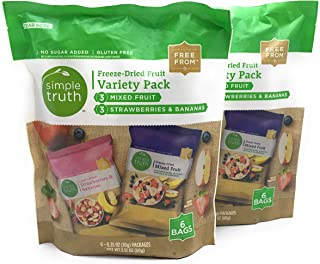 Simple Truth Freeze-Dried Fruit, Mixed Fruit and Strawberry Banana, (Set of 2 Variety Packs)