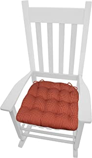 Barnett Home Decor Capri Red Plaid XXL Rocking Chair Seat Cushion w/Ties - 100% Cotton - Tufted, Reversible, Machine Washable - Made in USA (Jumbo Extra-Extra-Large) (Red/Neutral Check)