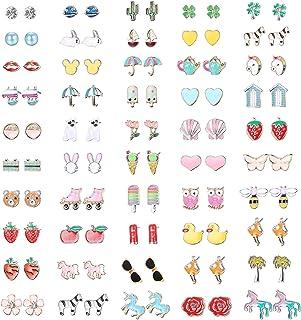 Hanpabum 50 Pairs Hypoallergenic Earrings for Kids Flower Animals Trees Ice Cream Colorful Cute Stainless Steel Stud Earri...