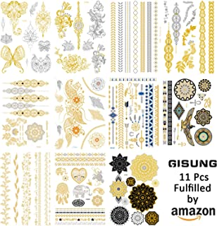 Gisung Temporary Tattoos 11 pack body art Gisung sticker designs in gold and silver (11 sheets)