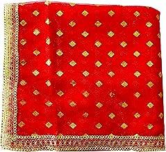 Devi MATA ki chunari Durga Chunni for Navratri Kanya Pujan Chunar with Golden Embroidery (Assorted Design)