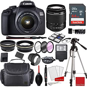 Canon EOS 2000D Rebel T7 Kit with EF-S 18-55mm f/3.5-5.6 III Lens + Sandisk 64GB Memory + Professional Accessory Bundle
