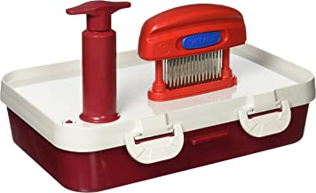 Jaccard 201405 Speedy Plus Ultimate Instant Marinater, INCLUDES 10 X 14 Inch, Red/White, 5 Minute Vacuum Marinater Container PLUS 15 Knife Jaccard Meat Tenderizer. Dishwasher Safe