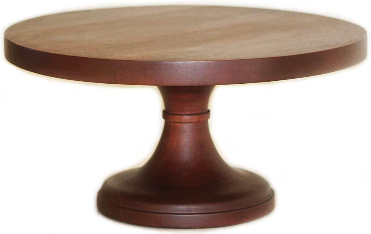 Rustic Wood Pedestal Cake Stand 16 Inch Round Wedding Cake Stand