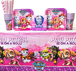 Paw Patrol Girl Party Pack for 16 Guests: Straws, Dessert Plates, Beverage Napkins, Cups, and Tablecover (Bundle for 16)