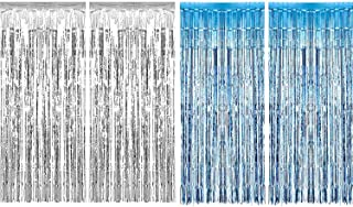 Sumind 4 Pack Foil Curtains Metallic Fringe Curtains Shimmer Curtain for Birthday Wedding Party Christmas Decorations (Silver and Light Blue)