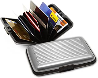 Aluminum Credit Card Case – Wallet with RFID / NFC Blocking for Credit / Debit / ID Cards, Purse for up to 12 Cards (silver)