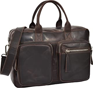 Real Colombian Leather Holdall Cross Body Weekend Shoulder Bag HL015 Brown