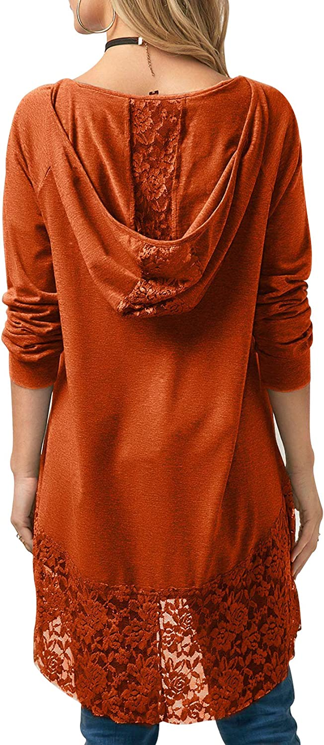 HaiCoo Women's Lace Sheer Blouses For Fancy Casual Full Sleeve Hoodie T-Shirt