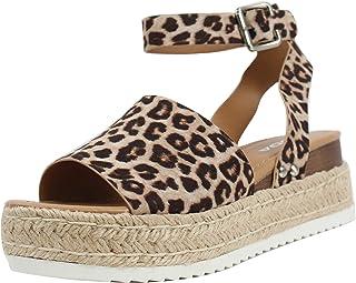Women's Open Toe Halter Ankle Strap Espadrille Sandal (9, Oat Cheetah)