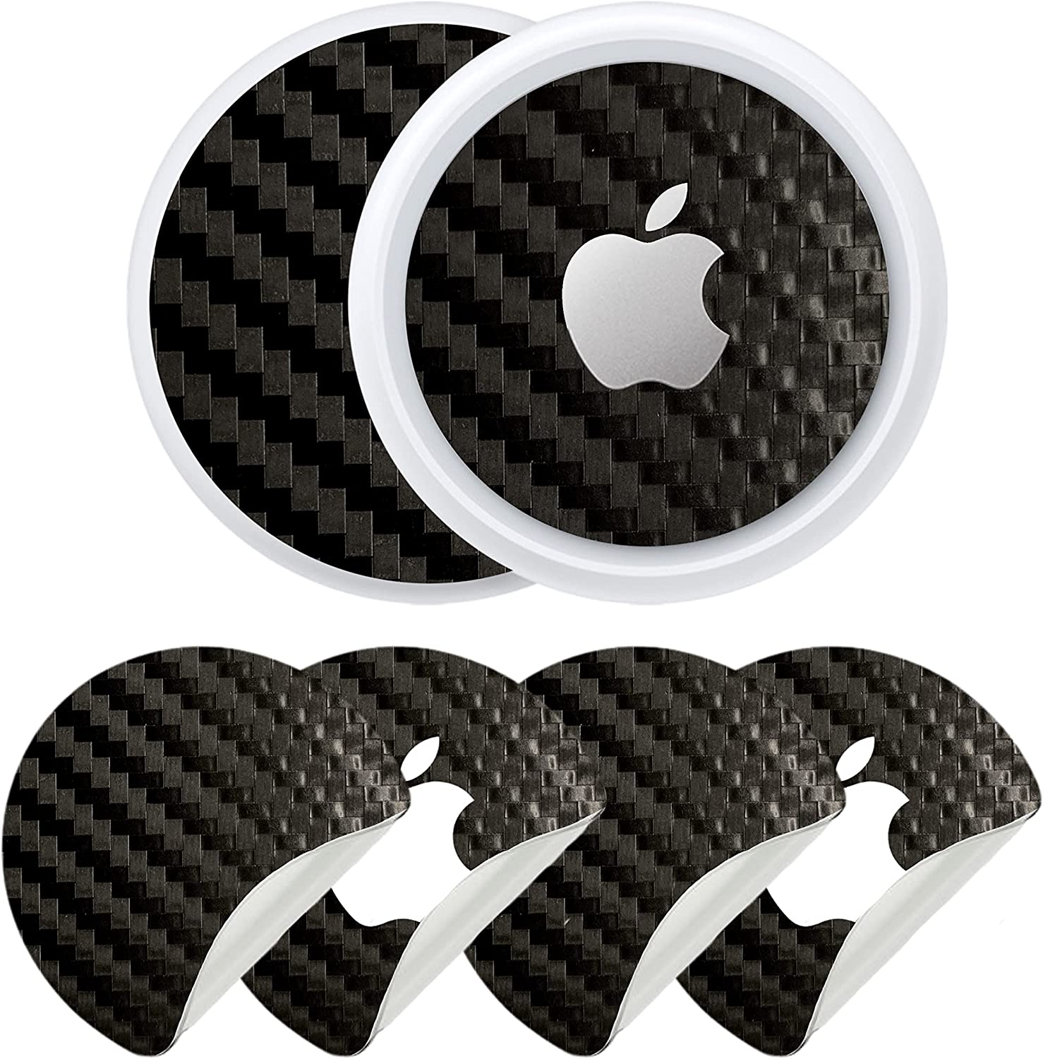 2PK Carbon Fiber Skin for Airtags | Fits with Airtag Cases (Not Included), Keychains, Loops, Holders | Stylish, Anti-Scratch, Protective