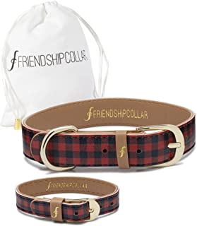 FriendshipCollar Dog Collar and Matching Bracelet Set - The Hipster Pup - Vegan Leather - 8 Every Purchase Helps Feed Hungry Shelter Pups