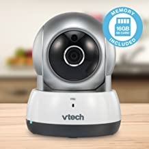 VTech VC9311-112 Wi-Fi IP Camera with 720p HD, Remote Pan & Tilt, Free Live Streaming, Automatic Infrared Night Vision & 16 GB SD Card, Silver/White