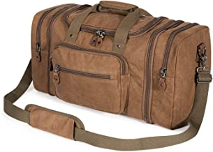 Plambag Canvas Duffle Bag for Travel, 50L Duffel Overnight Weekend Bag(Coffee)