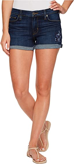 Asha Mid-Rise Floral Embroidered Cuffed Shorts in Patrol Unit