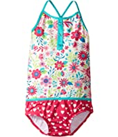 Hatley Kids - Wallpaper Flowers Color Block Swimsuit (Toddler/Little Kids/Big Kids)