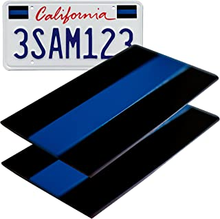 Aluminum Thin Blue Line License Sticker Blue Lives Matter Decal | In Support of Police Officers and Law Enforcement (2 Pack)