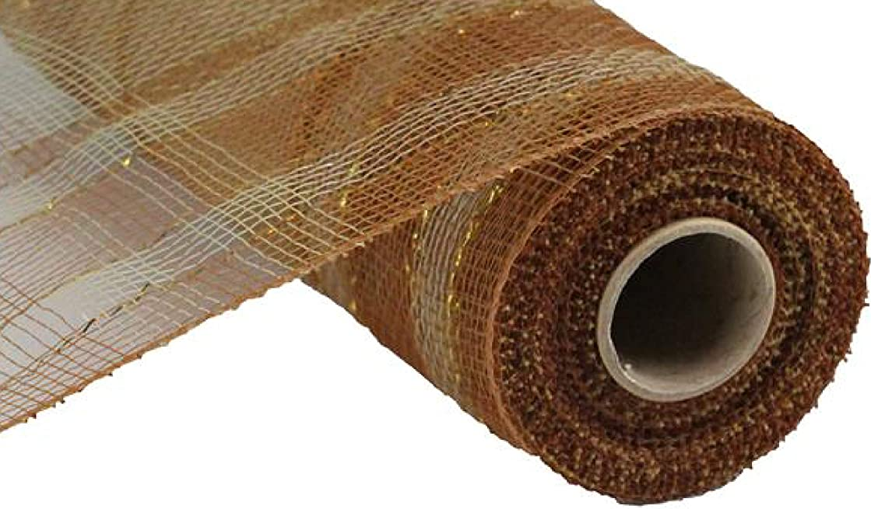 Plaid Metallic Deco Poly Mesh Ribbon - 10 inch x 30 feet (Bronze, Natural, Laser Gold)