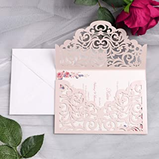 YIMIL 20 Pcs Laser Cut Wedding Invitation Cards with Envelopes for Wedding Quinceañera Birthday Engagement Bridal Shower Graduation Party (Blush Pink)
