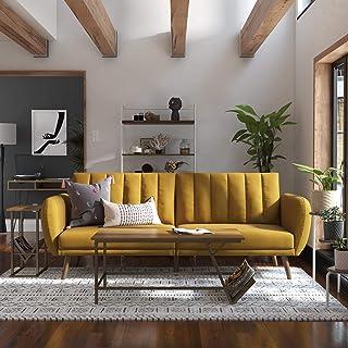 Novogratz Brittany Sofa Futon – Premium Upholstery and Wooden Legs – Mustard