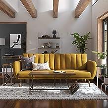Novogratz Brittany Sofa Futon - Premium Upholstery and Wooden Legs - Mustard