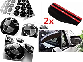 BLACK and SILVER Carbon Fiber Sticker Overlay Vinyl for All BMW Emblems Caps Logos Roundels