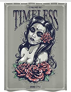 KRISTI MCCARTNEY Skull Stall Shower Curtain by, Day of Dead Girl with Tattoos Roses Lady Witch Woman Sign Art Print, Fabric Bathroom Decor Set with Hooks, 36 W x 72 L Inches, Taupe Coconut Dried Rose