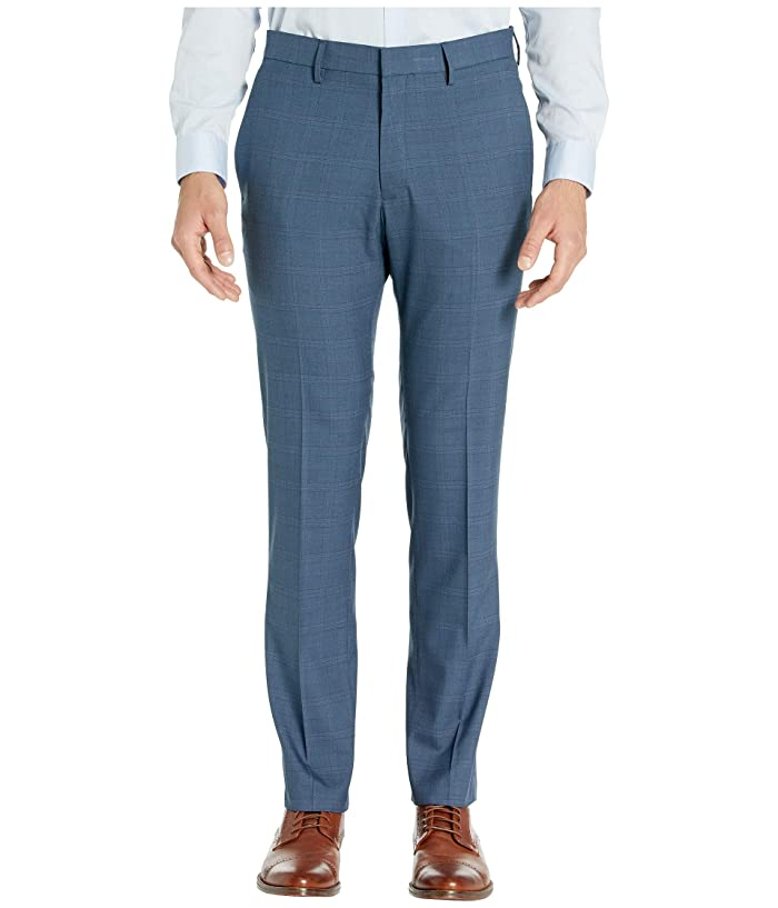 Kenneth Cole Reaction  Stretch Sharkskin Plaid Slim Fit Flat Front Dress Pants (Blue) Mens Dress Pants