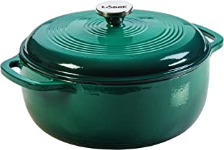 Lodge 6 Quart Enameled Cast Iron Dutch Oven. Deep Teal Enamel Dutch Oven (Lagoon Blue)