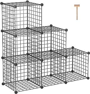 "C&AHOME Metal Wire Cube Storage, 6-Cube Shelves Organizer, Stackable Storage Bins, Modular Bookcase, DIY Closet Cabinet Shelf for Home Office 36.6""L x 12.4""W x 36.6""H Black"