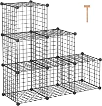"C&AHOME Metal Wire Cube Storage, 6-Cube Shelves Organizer, Stackable Storage Bins, Modular Bookcase, DIY Closet Cabinet Shelf for Home Office 36.6""L x 12.4""W x 36.6""H Black"