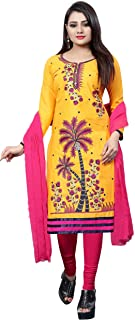 Ethnicset- Womens-Dress-Material-Coconut Yellow
