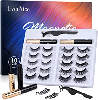 Magnetic Eyelashes with Eyeliner Kit,Natural Look Strong Magnetic Eyeliner and 10 Pairs Lashes Set by EverNice for Daily L...