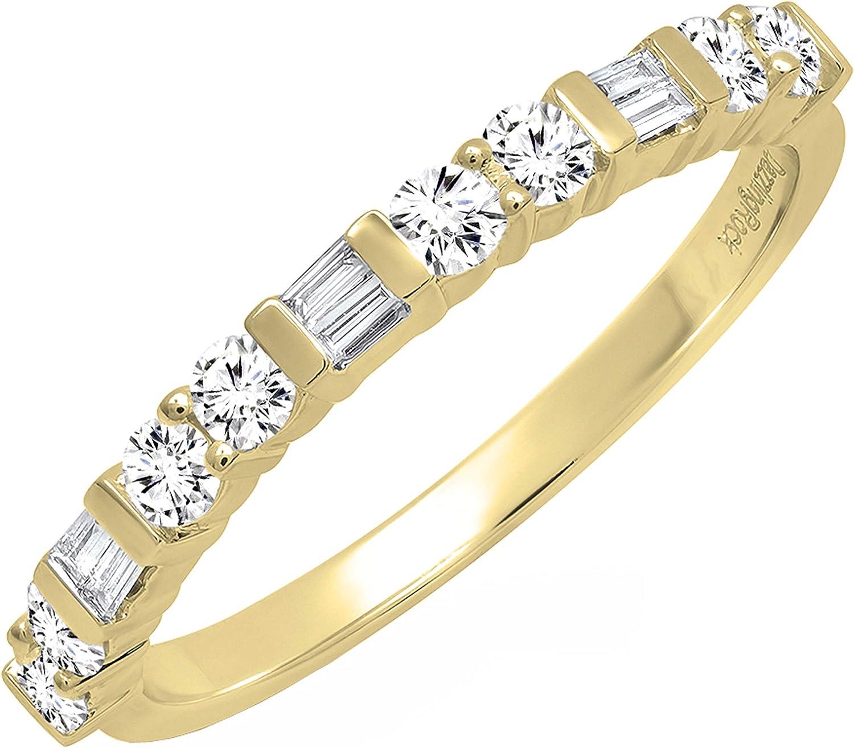 Dazzlingrock Collection 0.40 Carat (ctw) Round & Baguette White Diamond Ladies Stackable Wedding Band, 14K Gold