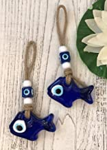 Trend Set of 2 Handmade Blue Fish Evil Eye Wall Hanging Talisman, Glass Home Decor Accessories, Newborn Gift/Baby Birth Gift, Home Decor Good Luck Charm Gift