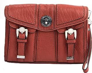 Karen Millen Large Orange Leather Large Lock Front Clutch