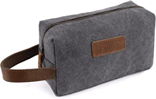 Kattee Canvas Toiletry Bag Cosmetic Makeup Organizer Shaving Dopp Case for Travel (Gray)
