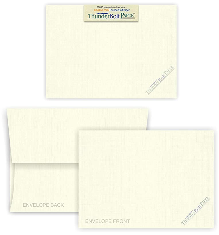 5X7 Blank Cards with A-7 Envelopes - Natural White Linen - 50 Sets by Thunderbolt Paper - Textured Finish - Invitations, Greeting, Thank Yous, Notes, Holidays, Weddings, Birthdays - 80# Cardstock