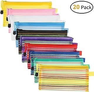 JARLINK 20 Pack 10 Colors Zipper Mesh Pouch, Pencil Pouch Pen Bag Multipurpose Travel Bags for Office Supplies Cosmetics Travel Accessories Multicolor