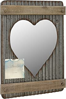 Stonebriar Corrugated Metal & Wood Heart Shaped Mirror with Attached Wall Hanger and Clip ; Industrial Wall Decor ; Distressed Finish
