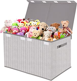 Toy Box Chest Storage Organizer with Flip-Top Lid - Kids Collapsible Toys Boxes Bin for Nursery, Playroom, Closet, Home Or...