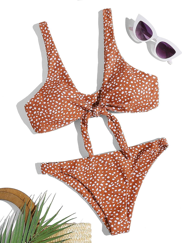 SweatyRocks Women's Sexy Bikini Swimsuit Tie Knot Front Leopard Print Swimwear Set