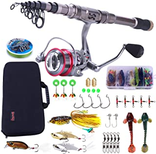 Sougayilang Fishing Rod and Reel Combos - Carbon Fiber Telescopic Fishing Pole - Spinning Reel 12 +1 BB with Carrying Case...